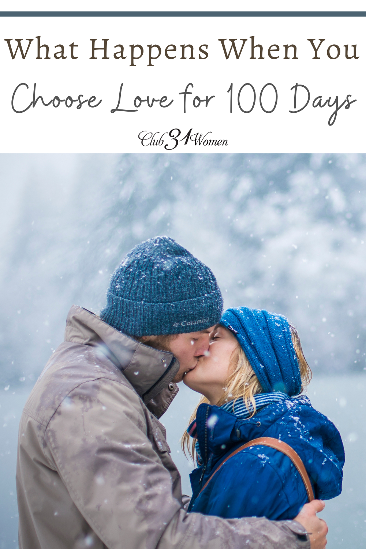Il est trop facile de suivre les mouvements et de ne pas être intentionnel dans votre mariage.  Et si vous deviez choisir l'amour pendant 100 jours?  via @ Club31Women