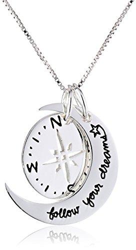 Collier avec pendentif Compas deux pièces en argent sterling Suivez vos rêves